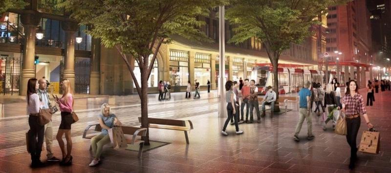 Artist's impression van de light rail in Sydney