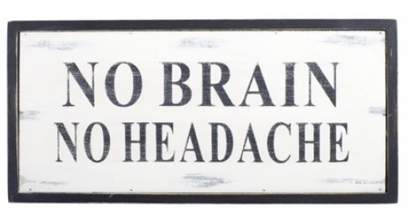 Geen hersenen...