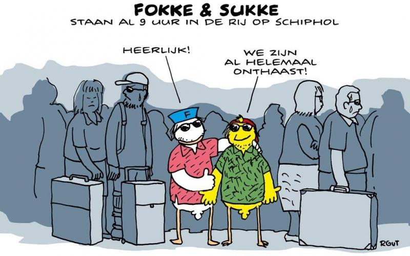 Lange wachtrijen op Schiphol