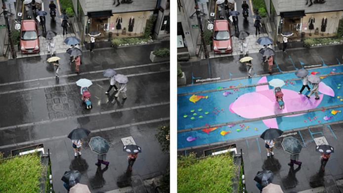 Regenkunst in Seoul