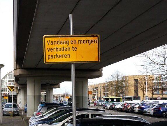 Handig, een herbruikbaar verkeersbord!