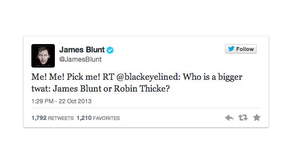 James Blunt wint op Twitter