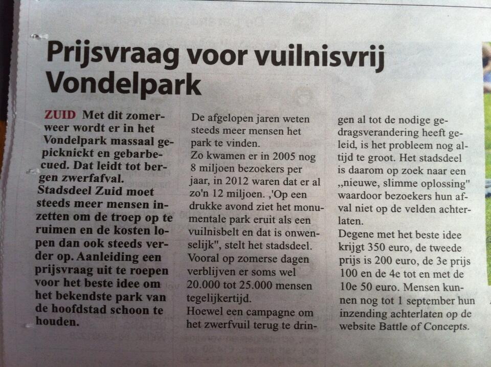 Omdenkwedstrijd: vuilnis in het Vondelpark